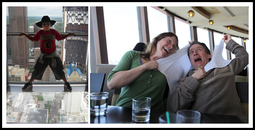 Pierre at the Calgary Tower. Paddy and Lisa fighting the G-force at the revolving restaurant